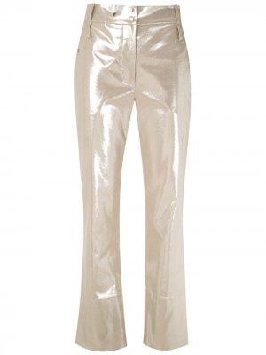 Укороченные брюки с эффектом металлик Gloria Coelho. Цвет: золотистый