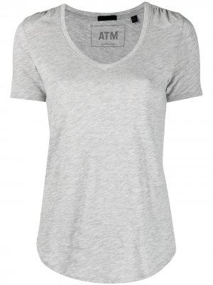 Приталенная футболка с V-образным вырезом Atm Anthony Thomas Melillo. Цвет: серый