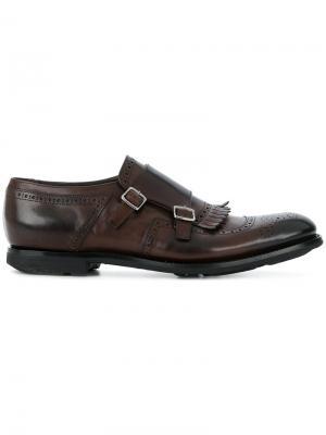 Классические туфли-монки Church's. Цвет: коричневый