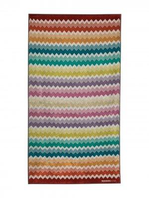 Пляжное полотенце Yannis с узором зигзаг Missoni Home. Цвет: белый