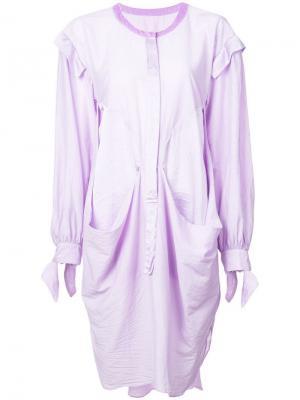 Платье-рубашка оригинального кроя Tsumori Chisato. Цвет: фиолетовый