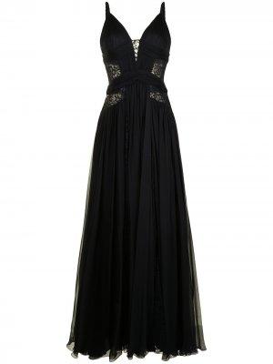 Вечернее платье с кружевной вставкой Zuhair Murad. Цвет: черный