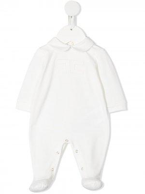 Пижама с вышитым логотипом Elisabetta Franchi La Mia Bambina. Цвет: белый