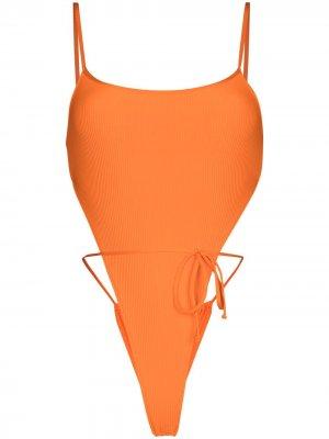 Купальник Croft в рубчик Frankies Bikinis. Цвет: оранжевый