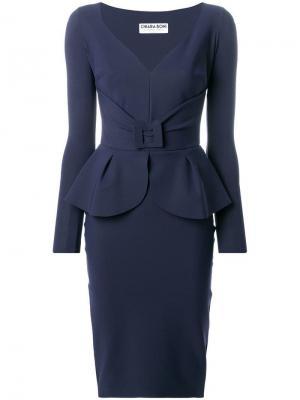 Платье с баской и ремнем Le Petite Robe Di Chiara Boni. Цвет: синий