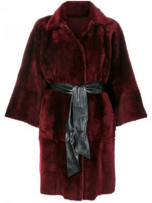 Пальто с поясом Drome. Цвет: красный