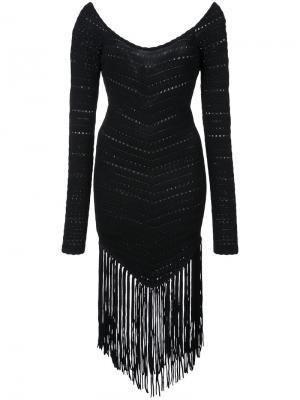 Платье с бахромой Ronny Kobo. Цвет: чёрный