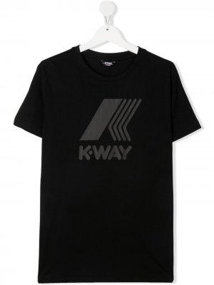 Футболка с логотипом K Way Kids. Цвет: черный
