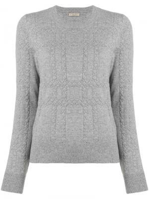 Кашемировый свитер с плетением intrecciato Bottega Veneta. Цвет: серый