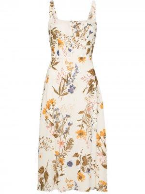 Платье миди Camari с цветочным принтом Reformation. Цвет: нейтральные цвета