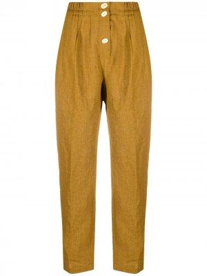 Прямые брюки с пуговицами Forte. Цвет: желтый