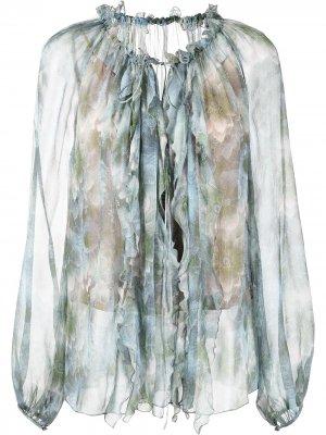 Блузка с оборками Jason Wu Collection. Цвет: синий