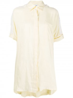 Атласное платье-рубашка с контрастными полосками adidas. Цвет: желтый