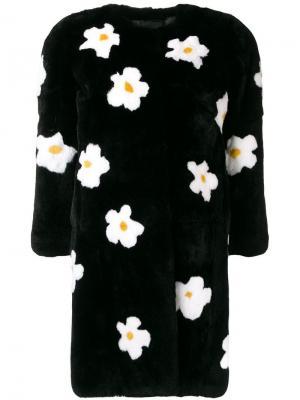 Пальто миди с цветочным узором Liska. Цвет: черный