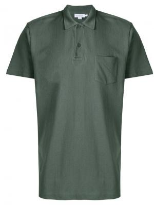 Рубашка-поло Riviera Sunspel. Цвет: зеленый