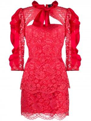 Короткое кружевное платье Elisabetta Franchi. Цвет: красный