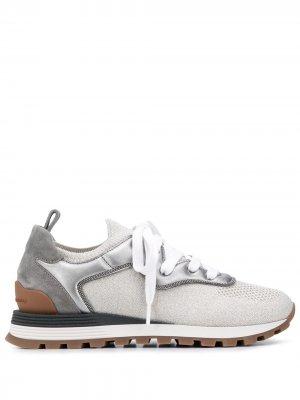 Кроссовки на шнуровке со вставками Brunello Cucinelli. Цвет: серый