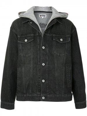 Многослойная джинсовая куртка Shark A BATHING APE®. Цвет: черный