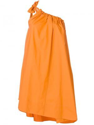 Платье на одно плечо со сборкой Ter Et Bantine. Цвет: оранжевый