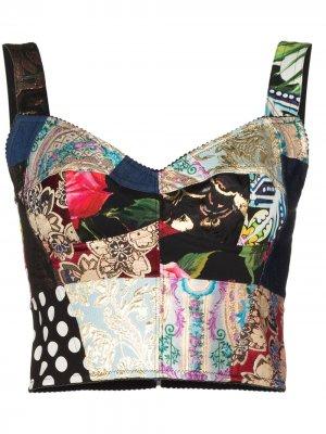 Топ-корсет в технике пэчворк Dolce & Gabbana. Цвет: черный