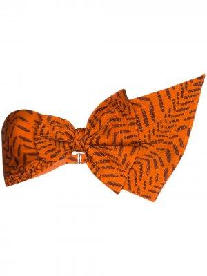 Лиф бикини из сирсакера Johanna Ortiz. Цвет: оранжевый