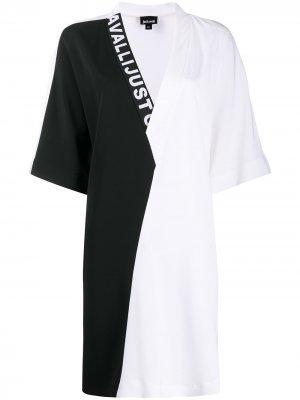 Платье в стиле колор-блок с V-образным вырезом Just Cavalli. Цвет: белый