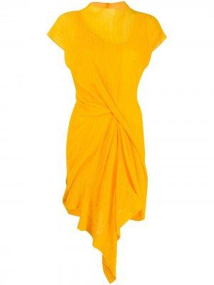 Платье-трапеция с драпировкой Nina Ricci. Цвет: желтый