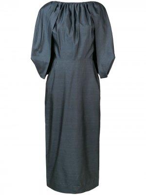 Платье миди с короткими рукавами Gabriela Hearst. Цвет: черный