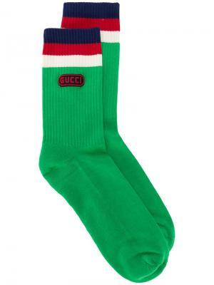 Носки с нашивкой  Game Gucci. Цвет: зеленый