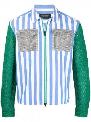 Полосатая рубашка в технике кроше Viktor & Rolf. Цвет: синий