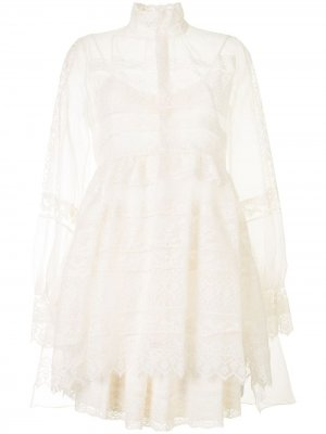 Многослойное платье с кружевными вставками Dice Kayek. Цвет: нейтральные цвета