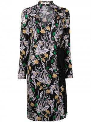 Платье Tiffany с цветочным принтом DVF Diane von Furstenberg. Цвет: черный