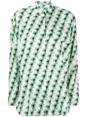 Рубашка Tessa с геометричным принтом Christian Wijnants. Цвет: зеленый