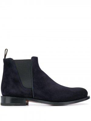 Ботинки челси с миндалевидным носком Santoni. Цвет: синий