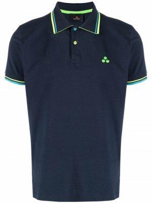 Рубашка поло с отделкой в полоску Peuterey. Цвет: синий