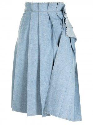 Плиссированная юбка миди из денима SJYP. Цвет: синий