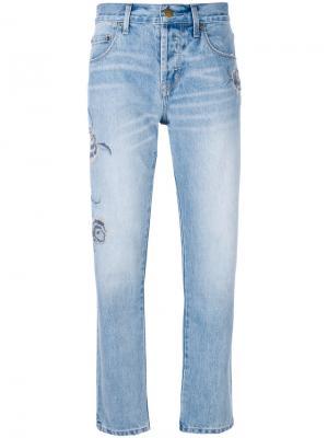 Прямые джинсы с вышивкой Current/Elliott. Цвет: синий