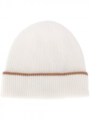 Кашемировая шапка бини с контрастной отделкой Eleventy. Цвет: белый