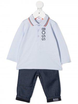Комплект из топа и брюк BOSS Kidswear. Цвет: синий