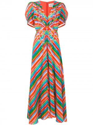Платье в полоску на пуговицах Saloni. Цвет: оранжевый