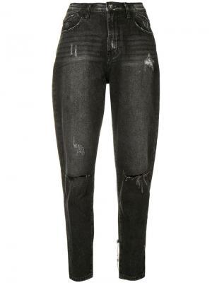 Зауженные джинсы с рваными деталями One Teaspoon. Цвет: черный