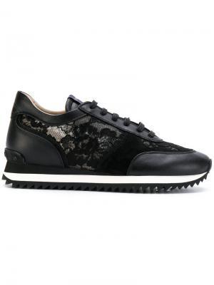 Кроссовки с кружевной отделкой Le Silla. Цвет: черный
