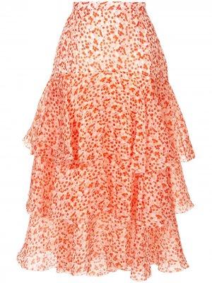 Многослойная юбка с оборками Delpozo. Цвет: белый