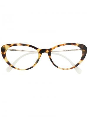 Очки в оправе с эффектом черепашьего панциря Miu Eyewear. Цвет: белый
