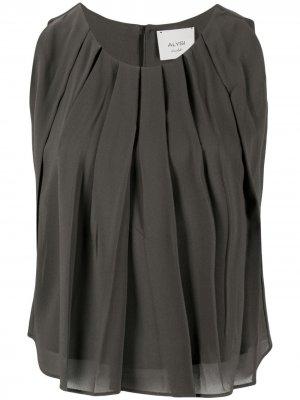 Расклешенная блузка со складками Alysi. Цвет: серый
