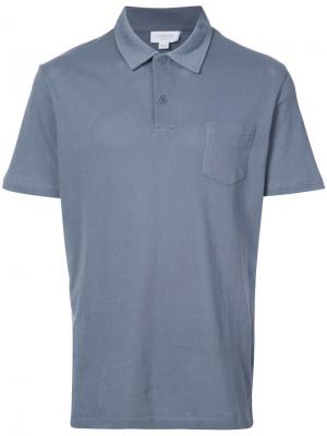 Рубашка-поло с короткими рукавами Sunspel. Цвет: синий