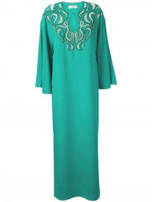 Платье-кафтан с вышивкой Emilio Pucci. Цвет: зеленый