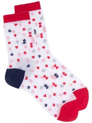 Полупрозрачные носки с графичным принтом UNDERCOVER. Цвет: белый
