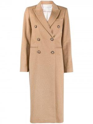 Длинное двубортное пальто Victoria Beckham. Цвет: коричневый