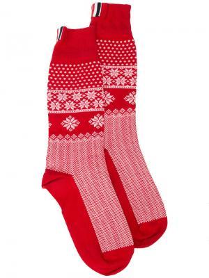 Носки с узором фэйр-айл Thom Browne. Цвет: красный